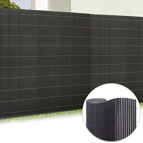 Froadp 180x300cm PVC Sichtschutzmatte Windschutz Imitat Bambus Sichtschutzzaun Verkleidung für Außenbereich Garten Balkon Terrasse(Anthrazit)