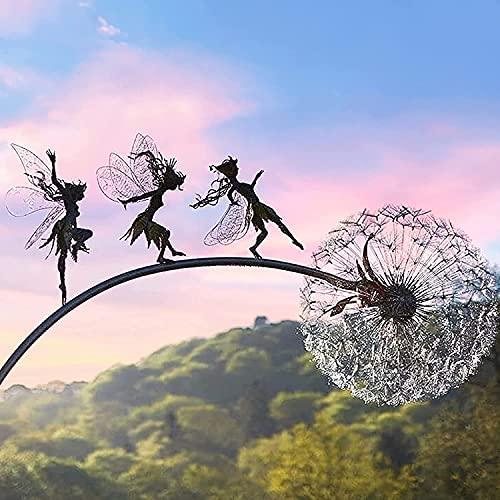 Garten-Silhouettenpfähle, Miniatur-Skulpturen für Feengarten, Elfe Metall Rost Gartendeko, Feen und Löwenzahn Tanzt Zusammen Gartenstecker, Dekorativer Metallpfahl Fee mit Löwenzahn (B)