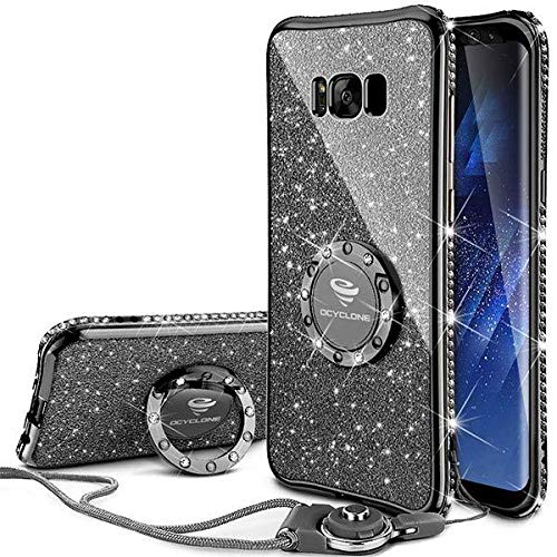 OCYCLONE Galaxy S8 Case, Glitter Luxury Cute Phone Case for Women Girls with Kickstand, Bling Diamond Rhinestone Bumper with Ring Stand Compatible with Galaxy S8 Case for Girl Women - Mauve Black