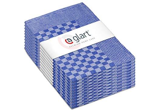 Glart 48SB 10er Set Geschirrtücher, Vollzwirn, 50x70 cm, 100% Baumwolle OEKO-TEX, blau, vorgewaschen