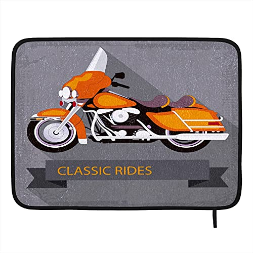 Classic Rides Motorcycle Dish Drying Mat for Kitchen Counter 16'' x 18''with Hanging Loop Kitchen Mats Absorbent Dish Draining Mat