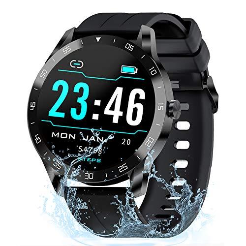 Gretel Smartwatch Uomo Orologio Fitness Donna Smartwatch Android Fitness Tracker Ragazzi Cronometro iOS, Cardiofrequenzimetro, Sonno, Notifiche Messaggi, Contapassi Intelligente Smartwatch Nero