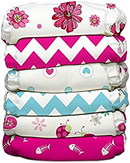 Charlie Banana 6 Piece Diapers with 12 Inserts Hybrid AIO, Power Girl