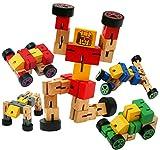 TOWO Robot bois de véhicule de transformation - Jouets de transfiguration pour jouets de voyage - Jouets de construction Ensemble de construction - Jeux de Construction en Bois pour garçon et fille enfant 3 ans - robot jouet - Bleu