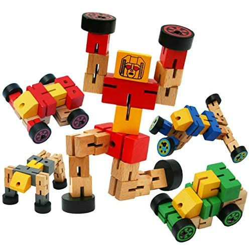 Toys of Wood Oxford Robot Trasformazione in Legno - Gioco da Viaggio Transfigures - Veicolo Giocattolo da Trasformare - Robot in Legno per Bambini e Bambine di 3 Anni- Rosso