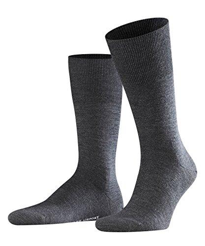 FALKE Herren Socken Airport - Merinowoll-/Baumwollmischung, 1 Paar, Grau (Asphalt Melange 3180), Größe: 43-44