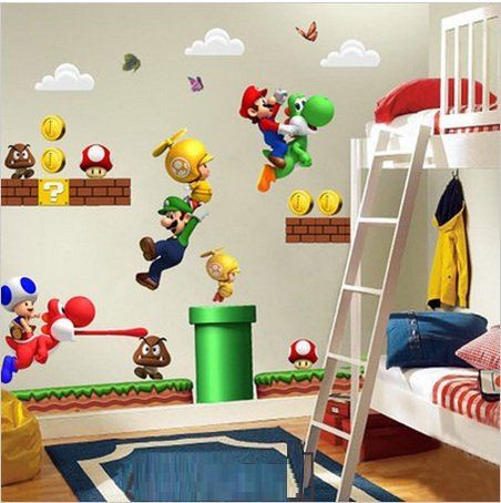 NUEVO Super Mario Bros Desmontable Pegatinas de pared