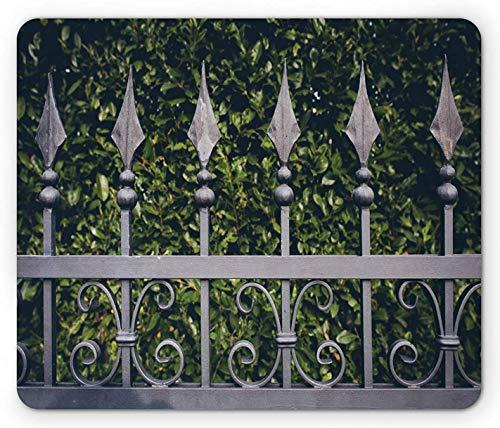 Zaun Mauspad, Eisentor mit Blättern Garten Hintergrund eines Hauses Eingang Eigentum Bild, Rechteck rutschfest Gummi Mousepad, Standardgröße, Grau Olivgrün