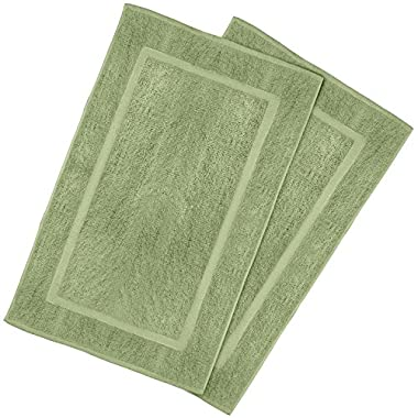 Utopia Towels 21-Inch-by-34-Inch Cotton Washable Bath Mat, 2 Pack, Sage Green