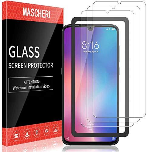 MASCHERI 3 Stück Panzerglas für Xiaomi Mi 9 SE 6.0 Zoll Schutzfolie Ausgestattet mit einem Einbaurahmen 9H Festigkeit Blasenfrei Bildschirmschutzfolie