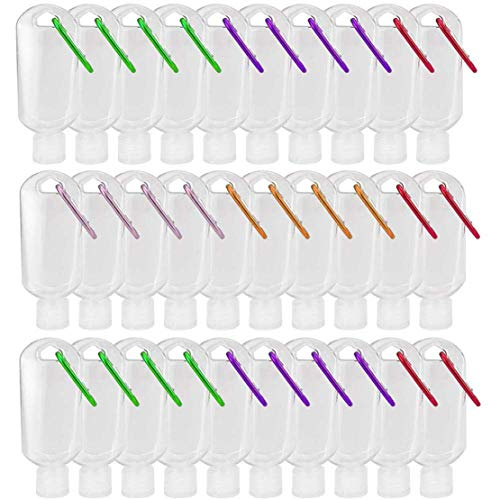 20 Pcs Empty Hand Sanitizer Bottles Keychain Portable Clear Leakproof Squeeze Containers Mini Plastic Refillable Bottles Flip Cap for Hand Sanitizer Conditioner Body Wash Liquid 60ml (30 Pcs,60 mL) -  heihui, M78