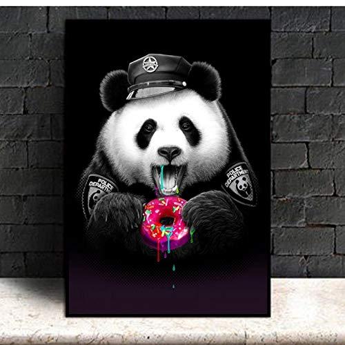 LLXHG Panda eten donuts poster druk dieren canvas schilderij kinderkamer babykamer muurkunst schilderij schilderij voor woonkamer kinderen Home decoratie 30X40cm niet-ingelijst