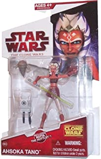 Star Wars The Clone Wars Series 3-1/2 Inch Tall Action Figure - Ahsoka Tano with Green Lightsaber, Rotta the Huttlet and the Carrier