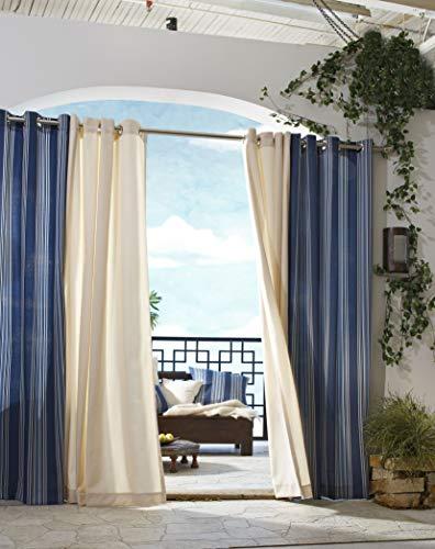 extérieur Décor Tonnelle à Rayures Intérieur Extérieur Panneaux de fenêtres, 50 par 96, Bleu