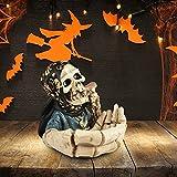 Hearthxy Aschenbecher für draussen Auto Skelett Totenkopf Halloween dekoTischaschenbecher Tischdeko Horror Gruselig Schädeldekoration für drinnen und draußen, Heimdekoration, Raucherbehälter - 6