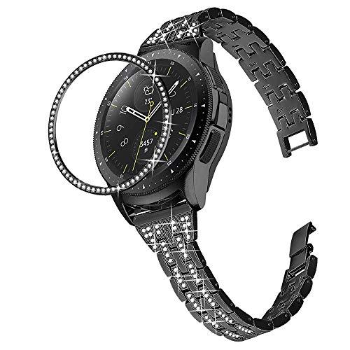 DEALELE - Correa compatible con Samsung Gear Sport/Galaxy Watch 42 mm, 20 mm, acero inoxidable con diamante delgado y cubierta de anillo biselado, color negro