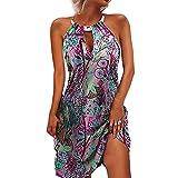 N\P Vestido de noche con estampado floral de verano para mujer retro cadena de hierro hueco