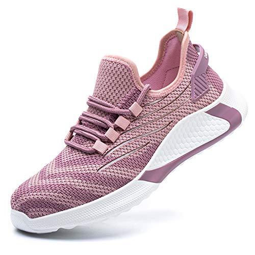artSew Sicherheitsschuhe Herren Leicht Sportlich Arbeitsschutzschuhe Damen Arbeitsschuhe Stahlkappen Atmungsaktiv mit Stahlkappe Sneaker (Pink, 41 EU)