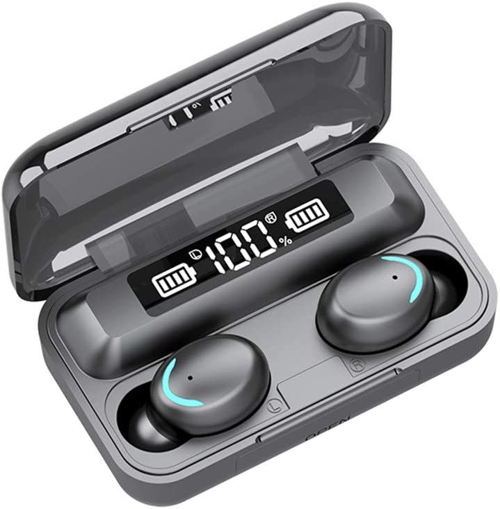 Bluetooth Headphones, Wireless Mini Headset Bluetooth 5.0 Sport Headset with Portable Charging Box (Black)