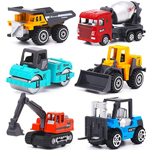 YIMORE Mini Lastwagen Autos Bunt Baufahrzeuge Spielzeugauto Set Weihnachten Geburtstag Geschenkset für Kinder ab 3 Jahren (6 pcs)