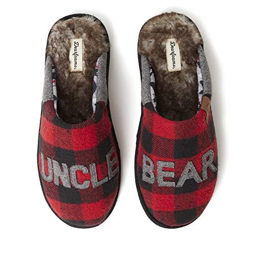 Dearfoams Men's Uncle Bear Buffalo Scuff Slipper, Red Plaid