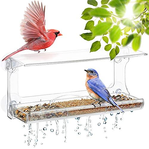 UPP Fenster Vogelhaus - groß | Fenster-Vogelfutterstation mit 4 extra starken Saugnäpfen,Dach,Ablauflöchern und 3-teiligem,abnehmbarem Tablett | Polycarbonat Kunststoff - Transparent | 30 x 10 x 14 cm