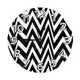 Mailine Fondo de Onda Reloj de Pared de Rayas Negras horizontales Relojes Decorativos Reloj Ligero con manecillas de números Romanos Reloj de Pared Redondo