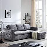 Sectional Sofa with Pull Out Bed, HABITRIO Solid Wood&Grey Velvet Upholstered 2 Seats Sofa and Reversible Chaise Lounge w/Storage, Modern Design 91' L-Shaped Sleeper Sofa for Living Room