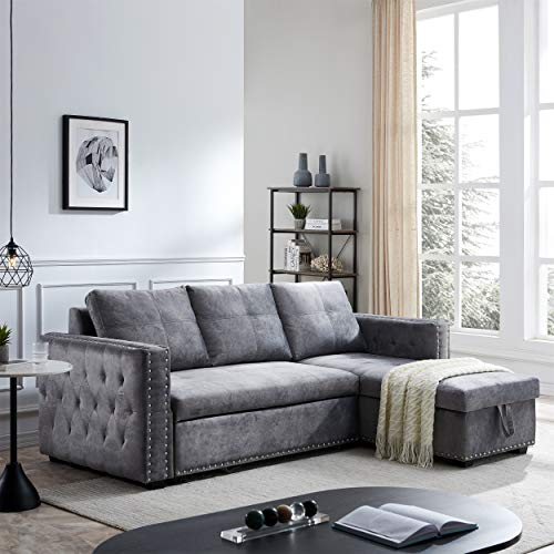 Sectional Sofa with Pull Out Bed, HABITRIO Solid Wood & Velvet Upholstered 2 Seats Sofa and Reversible Chaise Lounge w/Storage, Modern Design 91' L-Shaped Sleeper Sofa for Living Room (Grey)