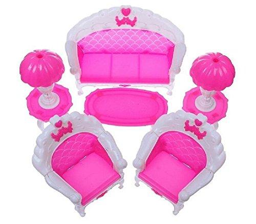 Marchandises de haute qualité Dollhouse Furniture Canapé Table Lampe Table Basse Ensemble Pour Doll House Princesse Chambre Décorative (Rose)