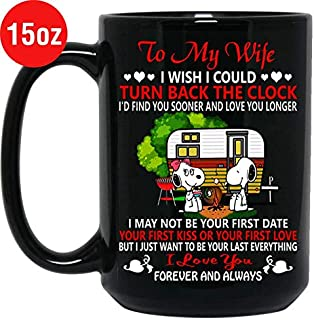 Snoopy Camping To My Wife I Love You Forever Mug Black Ceramic 15oz Tea Cup