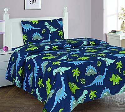 Elegant Home Dinosaurs Jurassic Park Design Multicolor Dark Blue Green Sheet Set with Pillowcase Flat Fitted Sheet for Boys/Kids/Teens # Dinosaurs Blue 2 (Twin)