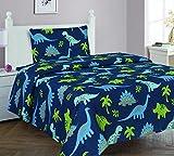 Elegant Home Dinosaurs Jurassic Park Design Multicolor Dark Blue Green Sheet Set with Pillowcase Flat Fitted Sheet for Boys / Kids/ Teens # Dinosaurs Blue 2 (Twin)