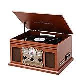 MUSITREND Stereoanlage Retro mit Bluetooth Plattenspieler - Encoding, CD, Kassette, Radio,...