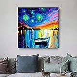 KWzEQ Arte de la Pared Lienzo Imagen Animal Print Starry Night Dog, Barco Paisaje Sala de Estar decoración del hogar70X70cmPintura sin Marco