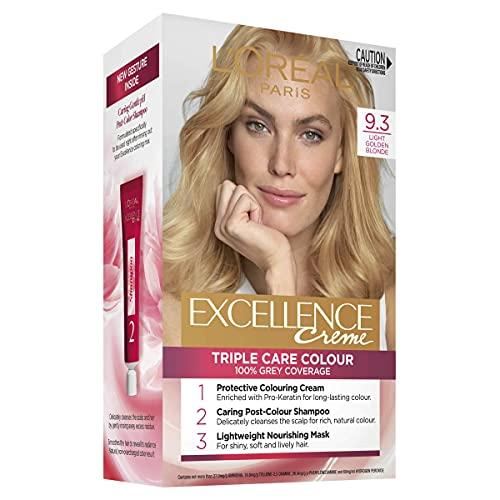 L'Oréal Paris Excellence Creme, 9.3 Light Golden Blonde (100% Grey Coverage)