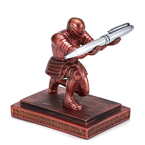 ThreeH Executive Knight - Porta bolígrafos con soporte para bolígrafos con un bolígrafo - Decoración personalizada para escritorio, regalo de regalo de oficina, rojo