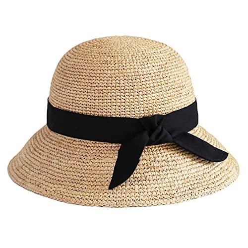 DJH Sombrero para el Sol para Mujer, Cola de Caballo Bowknot Floppy Protección UV Gorras para el Sol de ala Ancha Sombrero de Paja Redondo con Parte Superior Plana