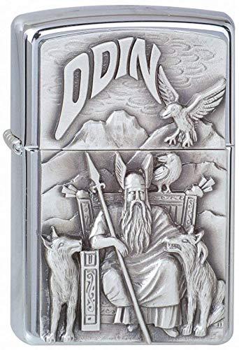 Zippo Zippo Feuerzeug 1300097 Viking Odin Emblem Benzinfeuerzeug, Messing Chrome