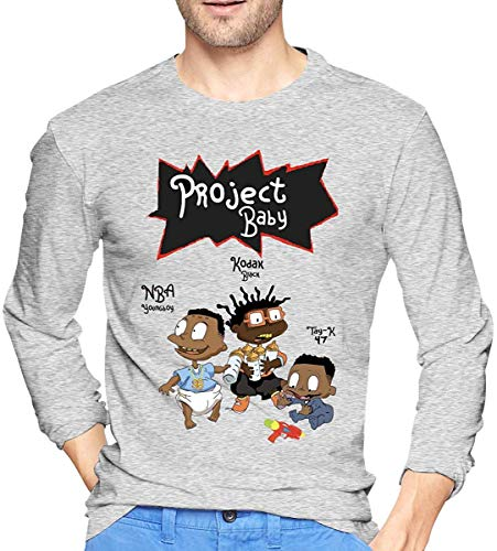 Whgdeftysd Kodak Zwart Project Baby Grafische Lange Mouw Zwart Sport T-shirt Blouse voor Heren