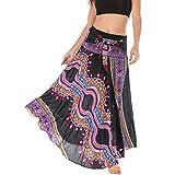 FAMILIZO Faldas Largas Y Elegantes Faldas Cortas Mujer Verano Faldas Mujer Primavera Vestidos Mujer Hippie Bohemia Gitana Boho Flores Elástico Cintura Floral Halter Falda (Talla única, Negro)