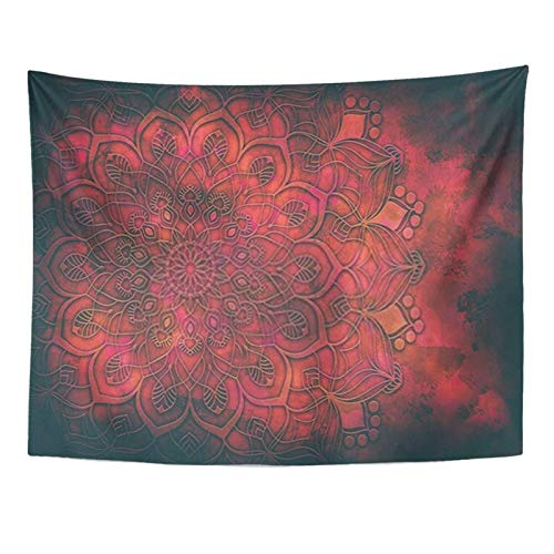 Taysta Tapestry Mandala Nebula Paisley Mexico Geometric Floral Galaxy Magic Red Flower Gypsy Tattoo Retro Tapestries Wall Hanging Aesthetic 50x60 Inches Home Decoration For Living Bed Room Dorm Party