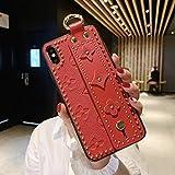 iPhone ケース レザー キラキラ 花柄 花 かわいい アイフォン スマホケース 保護 耐衝撃 手首ストラップハンドバンドケーススタンド カバー モノグラム (iPhone11, 赤)