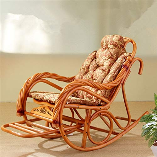 Decoración hogareña Silla de musculación de Lujo con Cojines Rattan Muebles de Mimbre Sala de Estar Interior Glider Recliner Moderno Ratán Silla Fácil (Color : Coffee Cushion)