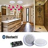 e Audio Kit de 2 Haut-parleurs de Plafond étanches 80W avec Bluetooth