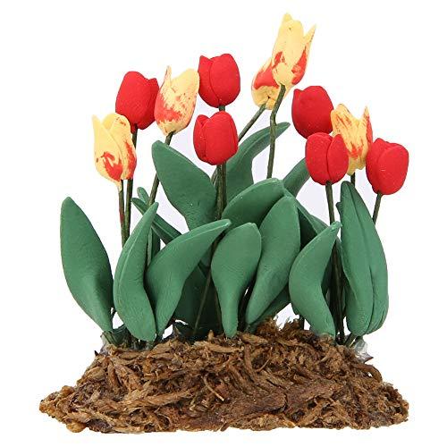 Oreilet Planta de decoración de casa de muñecas con decoración de tulipán, decoración de Mini casa de muñecas, 1:12 para el hogar, Regalo de casa de muñecas a Escala 1/12