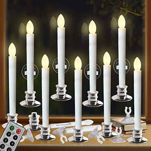 Window Candles with Remote Timers Battery Operated Flickering...