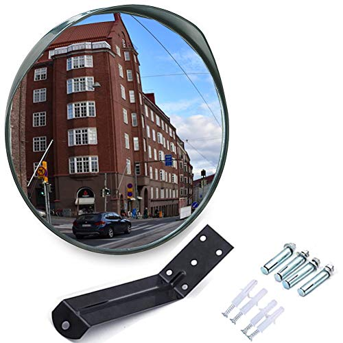 MEETWARM 12 Inch Convex Security Mirror Curved Safety Mirror with Adjustable Fixing -