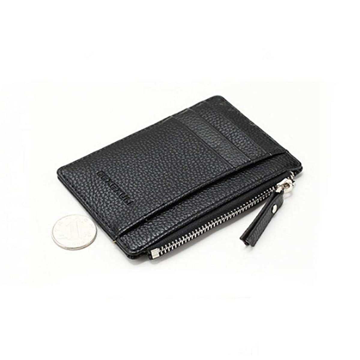 HENGSONG Wallet Mini PU Leather Card Holders Purse Men Women Zipper Coin Pocket Ultra Thin Multi-Function Storage Bag,Black