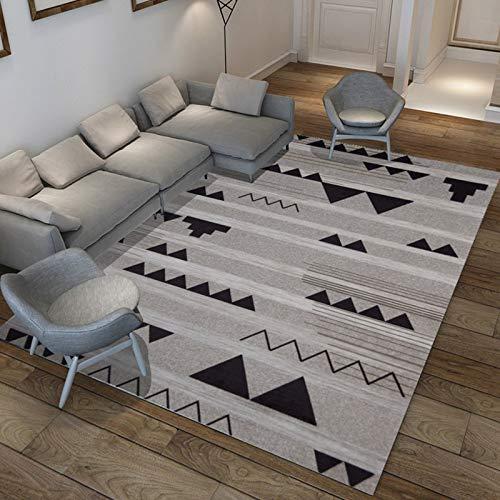 zzjj Kurzflor Teppich Grau Weiß Wohnzimmer Rauten Muster Design Weich Robust,Vera Super Weicher Teppich,Rauten-Muster Breit,Home Moderner Skandinavischer Stil(160 * 230cm)
